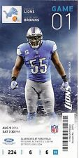 2014 DETROIT LIONS VS CLEVELAND BROWNS GIANT CLUB TICKET STUB 8/9 TULLOCH