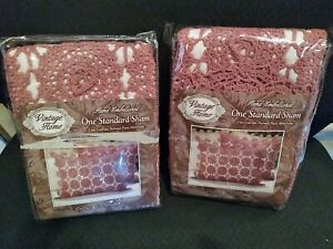 VTG  Pair 2 Crochet Rose Standard Pillow Shams Covers New In Pkg