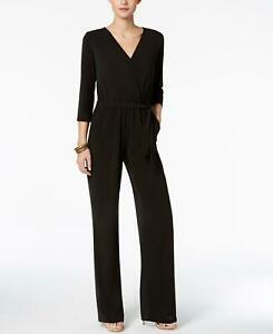 NWT NY Collection Petite Belted 3/4 Sleeve Knit Jumpsuit. YQIU0013