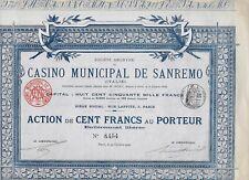 1906 * AZIONE AUTENTICA D'EPOCA DEL CASINO' MUNICIPALE DI SANREMO * PERFETTA