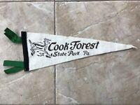 Vtg Cook Forest State Park Pennsylvania Pennant Felt Banner USA Souvenir PA 50's