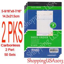 2 Pieces 2 Part Carbonless Sales Order Books Receipt Form Invoice 50 Sets