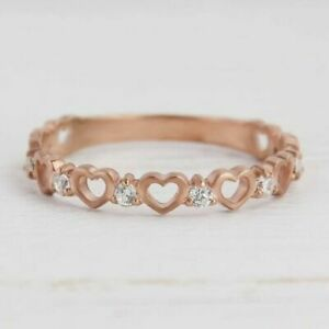 0.15Ct Round Cut Diamond Full Eternity Heart Cut Promise Ring 14K Rose Gold Over