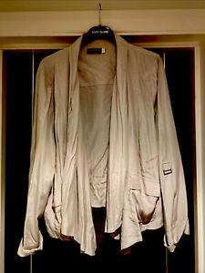Mint Velvet Stone Beige Adjustable Sleeves Long Line Waterfall Jacket Size 18