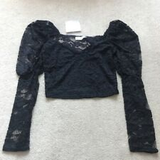 Brand new MissPap black lace crop top, size 8