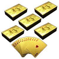 5x 54 Spielkarten mit Goldüberzug   Pokerkarten   Poker Skat Gold Plastikkarten
