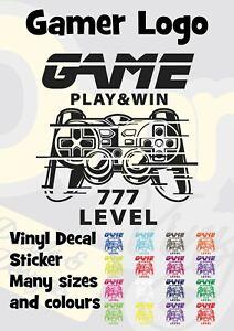 Gamer Level 777 Vinyl Transfer Sticker Decal Car Wall Laptop Window Motorbike