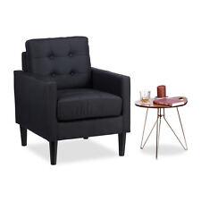 Retro Sessel schwarz Armsessel Polster Lesesessel Lounge Clubsessel Lehnsessel