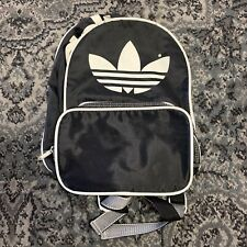 Adidas Original Big Logo Black Small Backpack Bag 100% Nylon Multiple Zippers