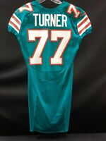#77 BILLY TURNER MIAMI DOLPHINS GAME USED/ISSUED THROWBACK NIKE JERSEY PACKERS