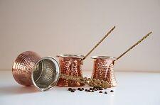 SET 3  Copper Turkish Coffee Maker Pot Handmade Cezve Ibrik Briki FREE SHIPPING