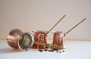 SET of 3 Turkish traditional Handmade Copper Coffee Maker Pot Cezve Ibrik Briki
