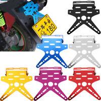 Motorcycle Number License Plate Rear Tail Light Adjustable Bracket Holder Alloy
