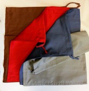 4 Heavy Duty Cash Deposit Bags with drawstring top -Lite blue, Red,Brown & Grey