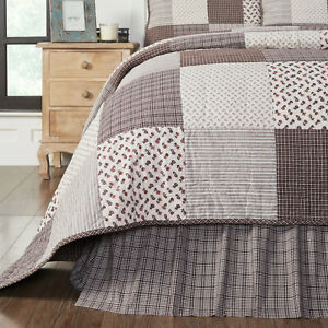 VHC Florette Deep Brown White Plaid Country Farmhouse Gathered Bed Skirt