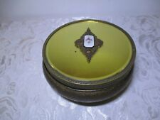Vintage Footed Powder Dish Glass & Brass With Decorative Mirrored Lid - Nice!