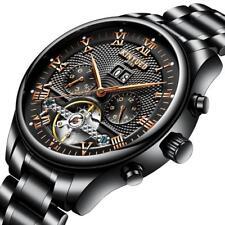 Mode Armbanduhr Edelstahl Armband Wasserdicht Analog Anzeige - Schwarz