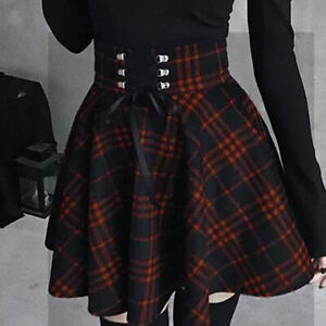 Women Plaid Pleated Skirts A-line Lace-Up Retro Gothic Mini Short Skirt Gown