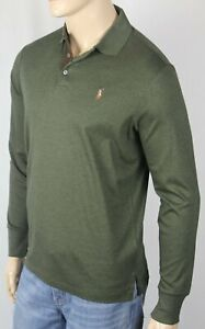 Ralph Lauren Green Cotton Long Sleeve Polo Shirt Classic Fit Suede Placket NWT