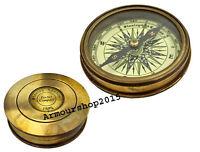 MARITIME DESIGNER ANTIQUE BRASS COMPASS NAUTICAL DECOR POCKET COMPASS