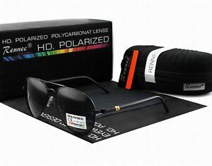 Rennec Herren Sonnenbrille Pilotenbrille Polarisiert Metal UV400 Schwarz II BOX