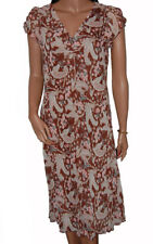 C119 - Ladies Brown / Pink Floral Paisley Day Chiffon Dress - UK 10