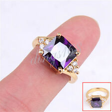 18K Yellow Gold Filled 10mm Wide Purple Diamond-Cut Crystal Ring Size 8 H458