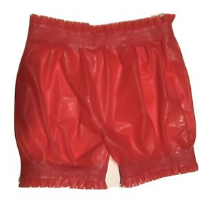 Latex Shorts Rubber Swimwear Cosplay Red Boxer Lace Pants  Xl