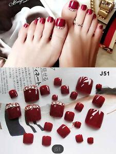 24Pcs Red Rhinestone Art Tips Full Cover False Toe Fake Nails ManicureTools+filr
