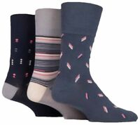 3 Pairs Mens Taupe Navy Grey Patterned Cotton Gentle Grip Socks, Size 6-11