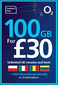 O2 Nano Micro SIM Card 2G 3G 4G TOP UP £30 RECEIVE UNLIMITED CALLS & TEXTS 🇬🇧