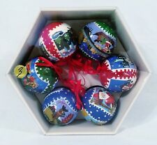 6 Pottery Barn Around The World Christmas Santa Paper Mache Tree Ornaments