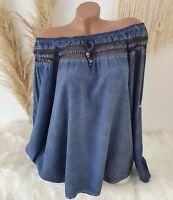 Italy Bluse Tunika Vintage Carmen Häkelspitze Shirt Oversize Blau 38 40 42