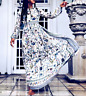 Tory Burch Remi Ivory Meadow Folly Floral Silk Maxi Long Gown Runway Dress US 0