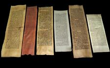 COLLECTION OF 6 ANCIENT BIBLE FRAGMENTS HANDWRITTEN DEER PARCHMENT 100-350 YRS