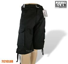 PRO CLUB CARGO SHORTS PROCLUB MEN'S TWILL LONG LENGTH SHORT PANTS BLACK 30-64