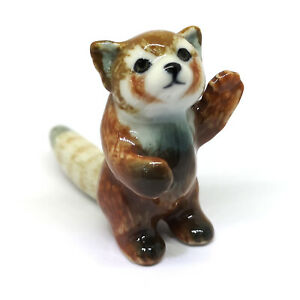 Ceramic Red Panda Figurine Animal Standing Craft Miniature Collectible Porcelain