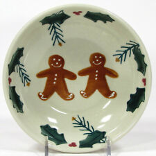 "Hartstone Pottery GINGERBREAD 12oz Soup Cereal 6.25"" Bowl Holly Pine Christmas"