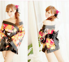 Cosplay Japanese Kimono Pajamas Women's Sexy Lingerie Set Dress