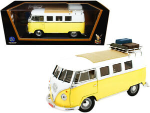 1962 Volkswagen Microbus with Roof Rack and Luggage Yellow and White 1/18 Dieca