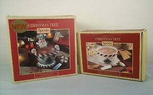Lot Spode Christmas Tree Peppermint Santa Bowl w/ Spreader & Ramekin Dip Set