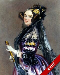 ADA KING LOVELACE BY CHALON VICTORIAN WOMAN IN PURPLE REAL CANVAS ART PRINT