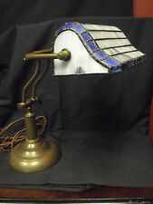 "Vintage Bronze Color Bankers Lamp w/Leaded Shade, Shade 8 x 5"" Lamp 20"" High"