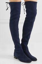 NEW 🍒Stuart Weitzman LowLand Suede over-the-knee boot Shoe, Navy, US 6.5
