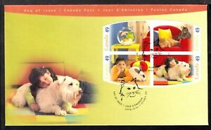 CANADA FIRST DAY COVER #2060a 49c BOOKLET PANE/4, 2004 PETS
