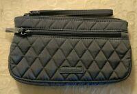 NWT Vera Bradley Wristlet in Carbon Gray Microfiber Handbag Purse MSRP $48
