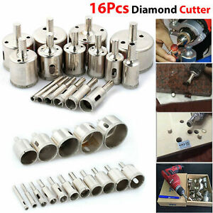 16Pcs Diamond Holes Saw Drill Bit Holesaw set Glass Marble Ceramic Cutter Tile