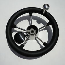 With PVC Foam & Knob 5 Spoke Size 11'' Yacht  Boat Stainless Wheel @ Auction
