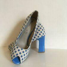 TAMARIS Peep Toe Shoes Blue Polka Dot Linen Women UK 5 EU 38