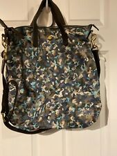 Mismo Pebbled Leather Camo and Leather Messenger Bag - Large Army Blue and Tan